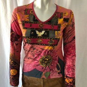 Miss Sixty Embroidered 100% Cotton blouse Sz L